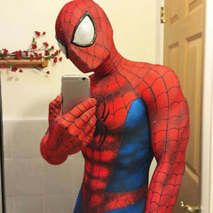 Image is loading Spiderman-Costume -Adult-Halloween-Cosplay-Mask-spandex-Superhero- & Spiderman Costume Adult Halloween Cosplay Mask spandex Superhero ...