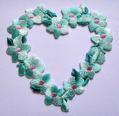 PRETTY BEAUTIFUL HEART FLOWER GREEN Embroidered Iron on Patch Free Shipping