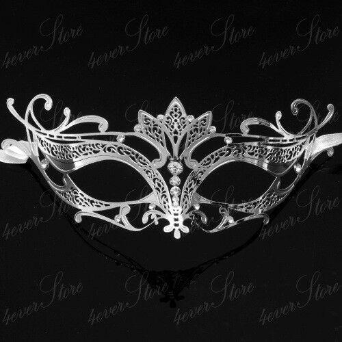 Women Majestic Venetian Laser Cut Masquerade Mask Made of Light Metal