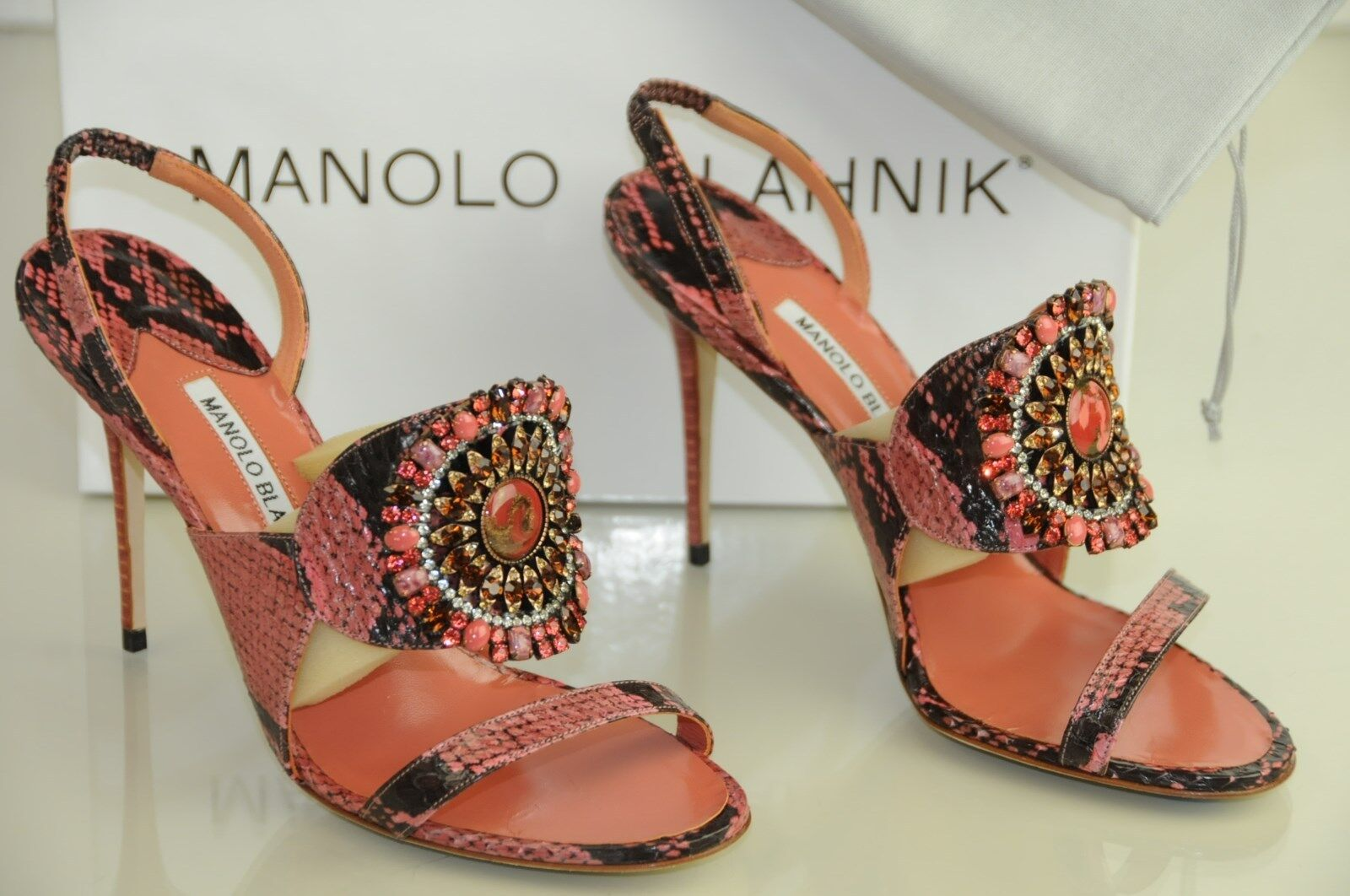 1445 New MANOLO BLAHNIK RONDANYJeweled CORAL PINK Python SANDALS SHOES Heels 40