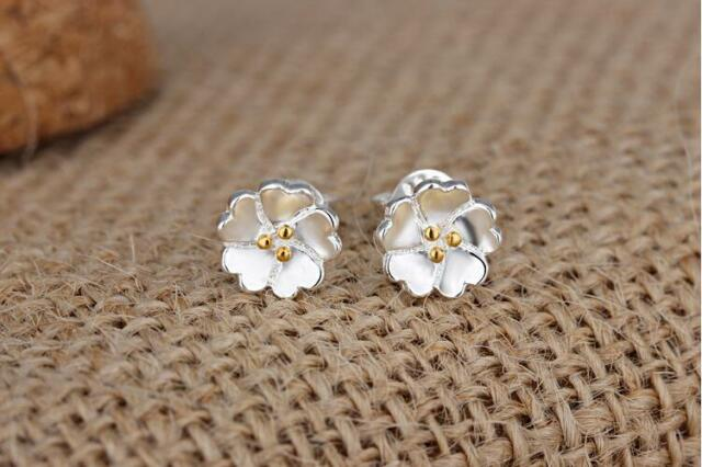 Shiny Gold 925 Sterling Silver Pl 2 Tone Cute Small Flower Stud Earrings Gift