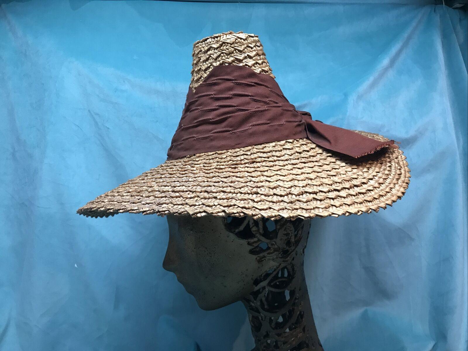 vintage straw hat 1930s 1940s 40s Tilt Wide Brim … - image 3