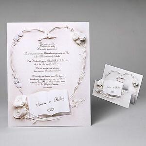 Das Bild Wird Geladen  EDLE Hochzeitskarten Hochzeitseinladungen Mit Umschlag Karten Einladung  Hochzeit
