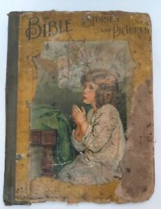 Bible Stories & Pictures Antique Distressed Book ...