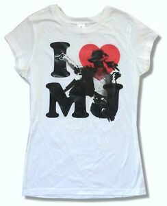 29c659953fc4 Michael Jackson I Heart Love MJ Gel Ink Girls Juniors White T Shirt ...