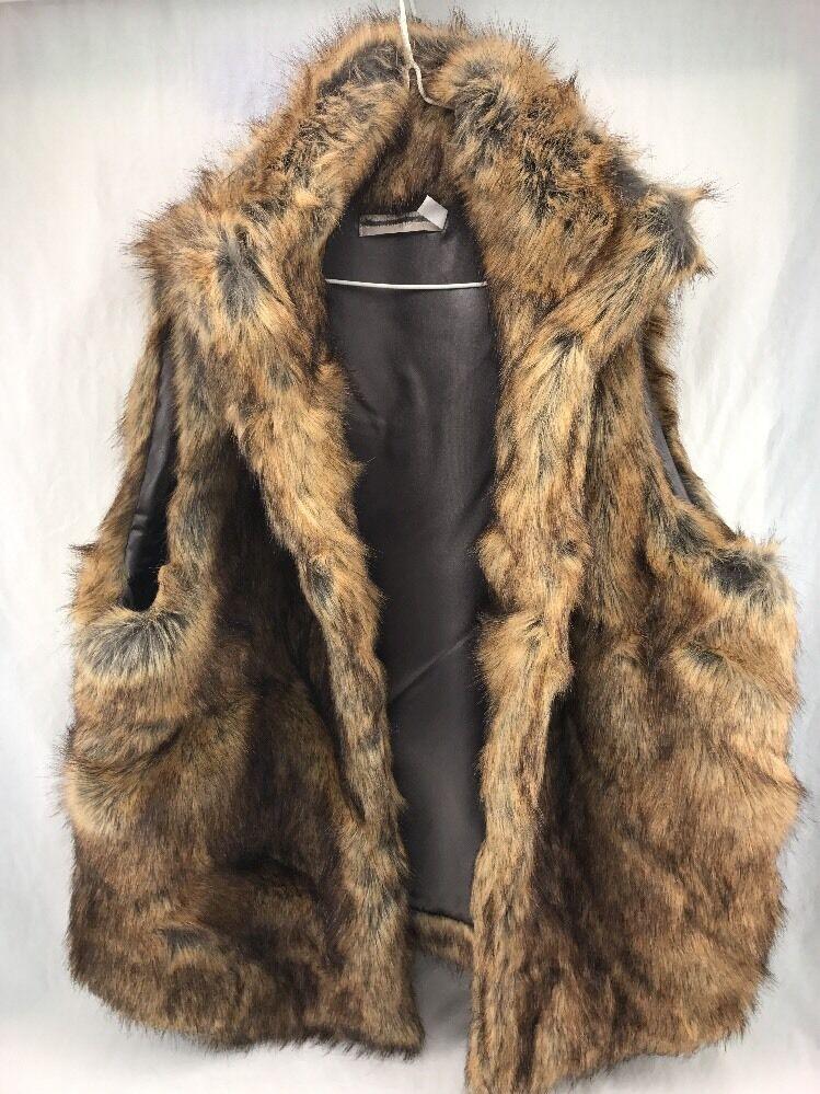 Fur Vest Mark & Grahm collar & trim faux Stunning compare 2  Brand New XL