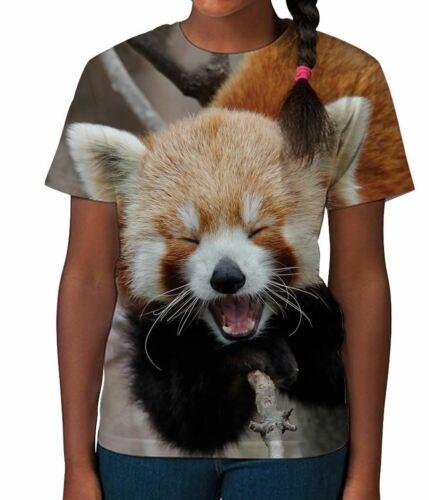 Red Panda Face Cute Animal Novelty Wildlife Cat Girls Child T Shirt 3-12