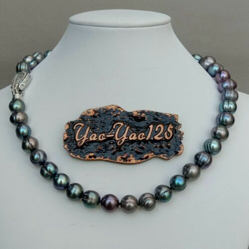 "A la venta de 17 /"" 10mm 11mm Blanco Gris Negro Multi Color Perla redonda Collar"