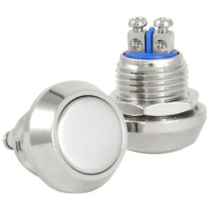 19mm High Round Cap Waterproof Momentary Stainless Steel Metal Push Button Switch High Flush Screw Terminals 250V 5A 1NO SPST