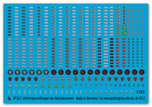 Peddinghaus 2611 1//35 Uniformbeschriftungen der Feuerwehren 1938-1945