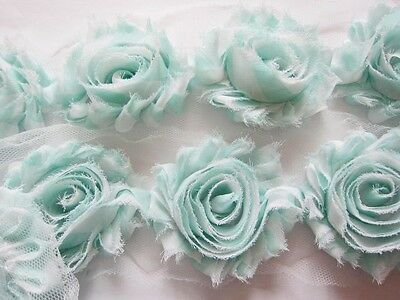 "1 YARD Gingham Shabby Chiffon 2.5"" Flower Trim-Mint CH005"