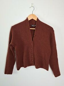 Sabatini-Brown-NZ-Made-Wool-Fine-Knit-Button-Up-Cardigan-Jacket-Women-039-s-Size-S