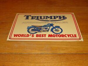 VINTAGE-TRIUMPH-MOTORCYCLES-DEALER-14-034-X-10-034-PORCELAIN-METAL-GASOLINE-amp-OIL-SIGN