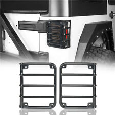 Gloss Black Metal Tail Light Guard Cover Armor For Jeep Wrangler 07 18 Jk 24 Dr Fits Jeep