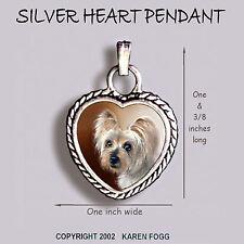 HEART EARRINGS Ornate Tibetan Silver YORKIE SILKY YORKSHIRE TERRIER SILKY DOG