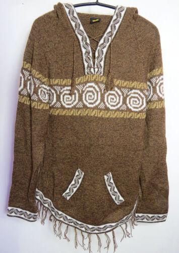 Maglione cappuccio a Nuovo maglia con di lana donna 38 Marrone lavorato lana di alpaca Maglione 40 Felpa per 8Sq5Bn
