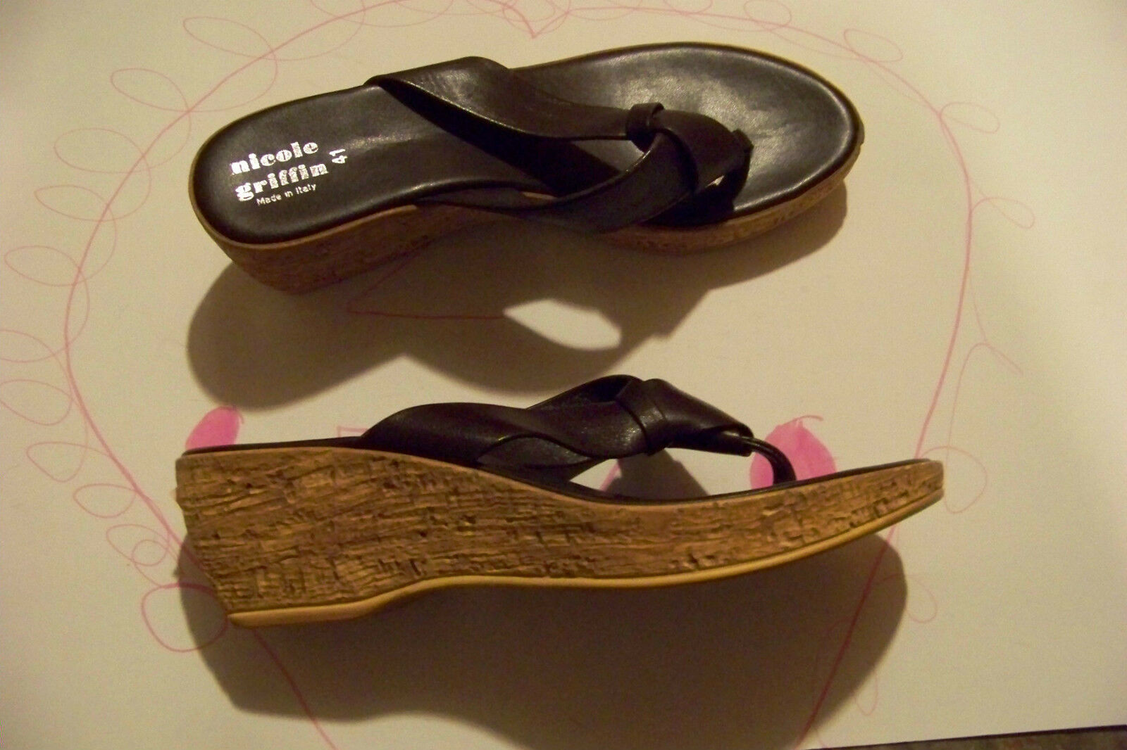 womens wedges nicole griffin brown leather flip flop wedges womens heels shoes size 41 c86ee0