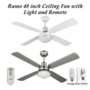 c747be3d4acf Ramo 48 Inch Ceiling Fan with Light and Remote Control in White or ...