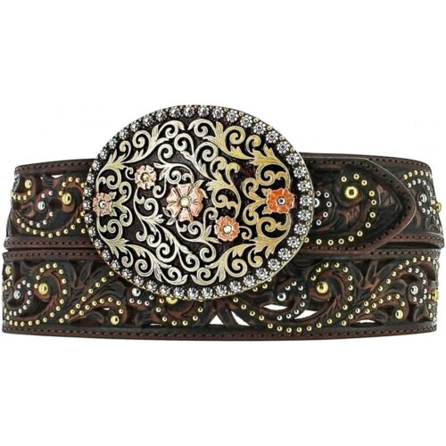 Justin Western Womens Belt Leather Brown Studded Floral C21018