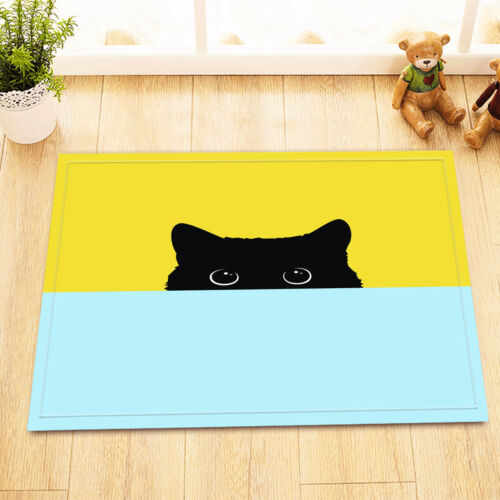 Funny Shy Black Cat Bathroom Decor Waterpoof Fabric Shower Curtain Liner /& Hooks