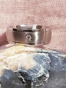 40c81f3ffe73b Details about Revere Men's Stainless Steel Matt and Polished CZ Ring