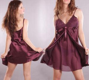 Sexy Damen Nachtkleid Satin Negligee Babydoll Nachthemd glänzend Dessous S - XXL