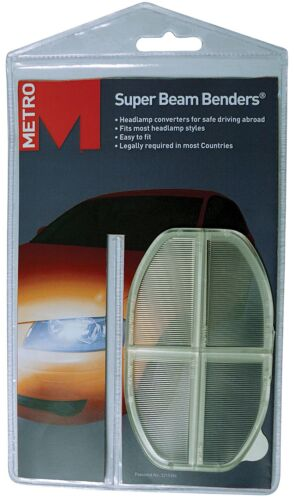 Metro Super Beam Benders Car Headlamp Beam Deflectors /& Euro GB Sticker