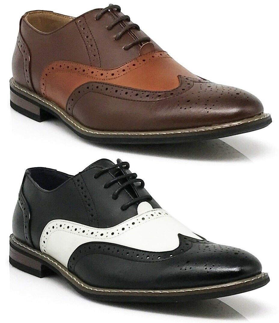 Men Dress shoes 2 tone WingTip Oxford Leather Lined Lace Up Black Brown Wood08