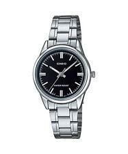 Casio Women's Silvertone Bracelet Watch, Black Dial, Date, LTP-V002D-1A