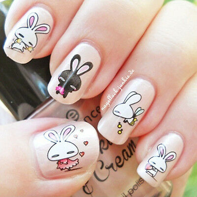 Nail Art Water Decals Transfers Sticker Lovely Rabbit Pattern 1Sheet #XF1263