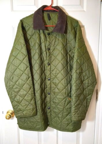 BARBOUR Green Nylon Quilted Snap Button Men's Vint