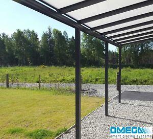 aluminium canopy carport patio cover 3m projection anthracite grey ebay