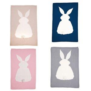 Baby Blankets Newborn Cute Big Rabbit Ear Blanket Soft Warm Knitted Swaddle Z9Z4