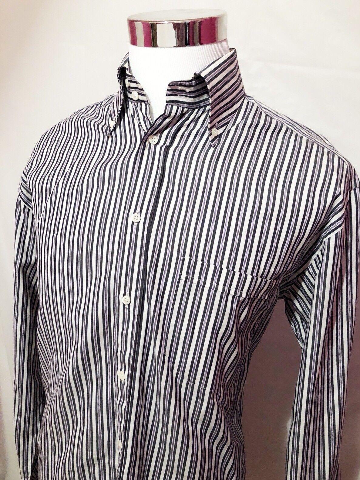 Canali Mens Stripe 100% Cotton Long Sleeve Button Front Shirt SZ L