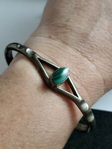 Vintage-Taxco-Sterling-silver-Malachite-bracelet