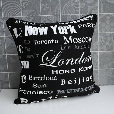 45x45cm Black White New York London City Name Cotton Canvas Cushion Cover
