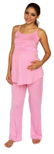 Pink Maternity Two Piece Set Nursing Breastfeeding Hospital Pregnancy Pajama