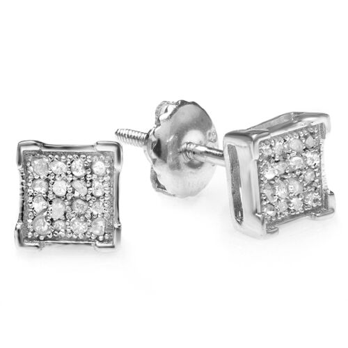 0.05 CT Sterling Silver Diamond V Prong Square Men/'s Hip Hop Iced Stud Earrings