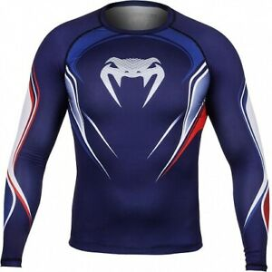 Venum Rashguard FR France Flag Manica Lunga Long Sleeve MMA Kick Compressione XL
