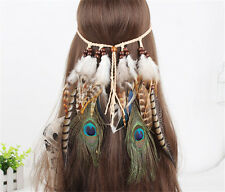 Boho Indian Hippie Vintage Feather Hairdress Headpieces Fancy Dress Headband