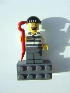 LEGO City Prisoner Robber Burglar minifigure with crow bar city sets
