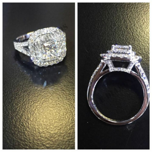 real solitaire 14k white gold 2 carat princess cut halo ring handcrafted wedding