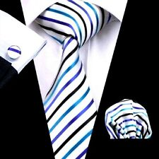 New Classic white stripes 100% New  Woven Silk Men's Tie set Necktie Gift