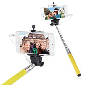 Selfie-Stick-Smartphone-Halter-Teleskopstange-Foto-Stativ-Selbstausloser-Gelb