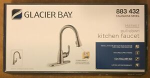Details about NEW! GLACIER BAY Kitchen Faucet 883 432 Stainless Steel  Pull-Down 2 Spray Modes