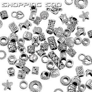 100PCS Lot MIX Silver /P Tibetan Beads Rondelle Spacer Murano Fit Charm Bracelet