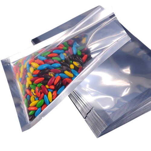 500PCS Heat-Sealable Clear Silver Shiny Foil Open Top Pouch Food Storage Bag