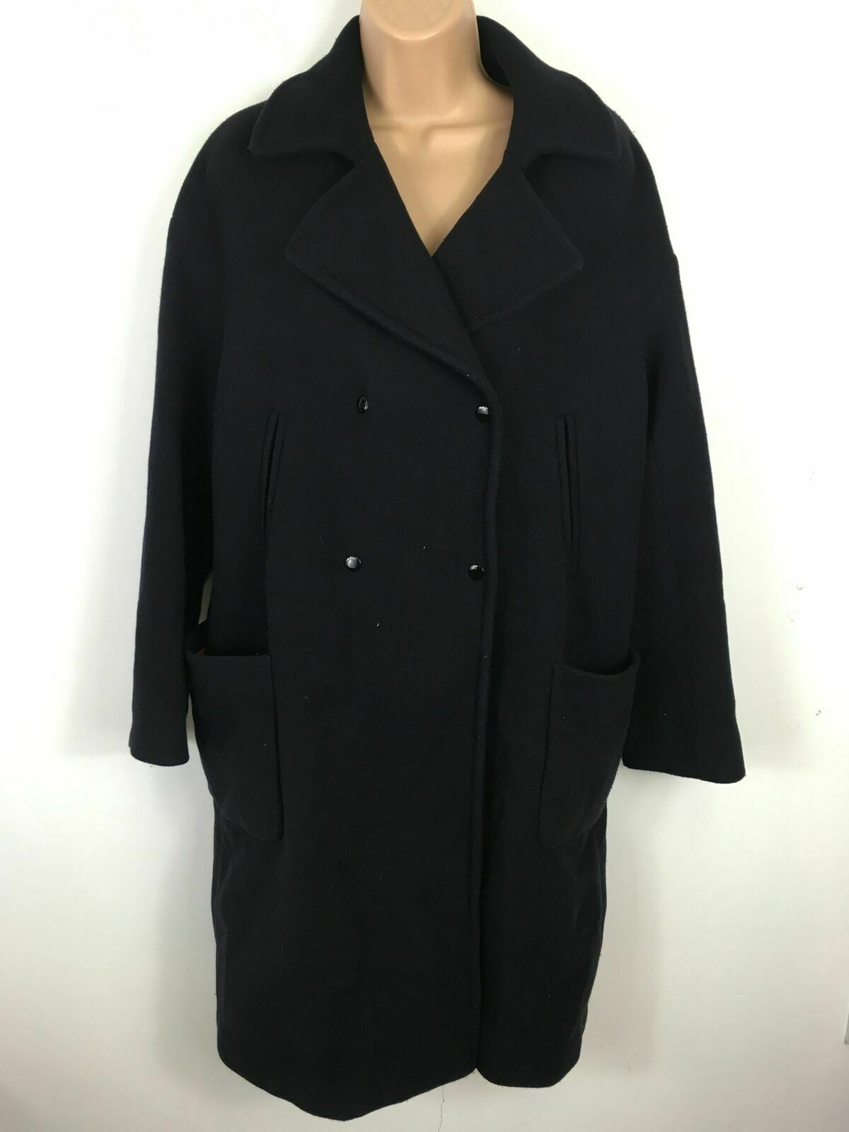 WOMENS LENER NAVY WOOL RICH BLEND POPPERS SMART LONG WINTER COAT SIZE UK12