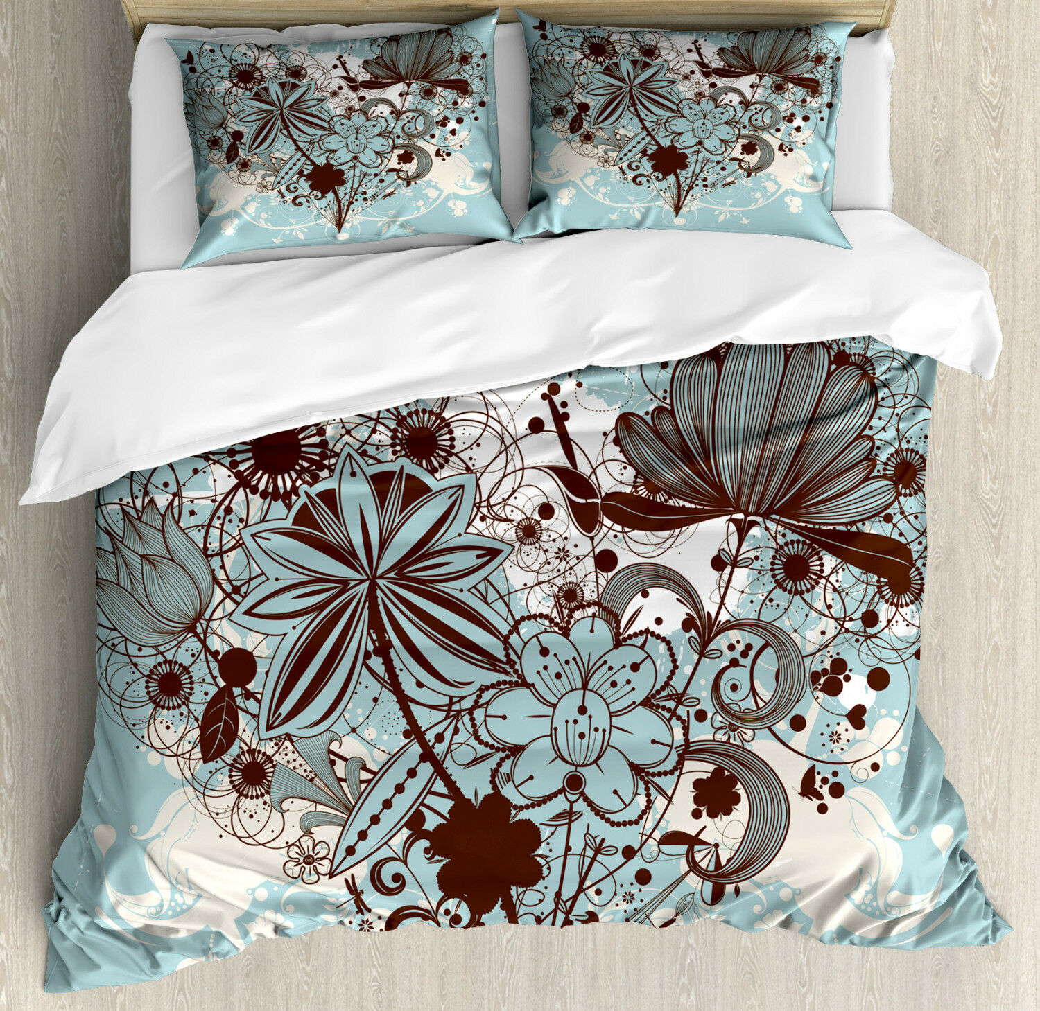 Grunge Duvet Cover Set with Pillow Shams Swirls and Petal Retro Print