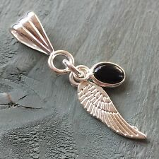 Black Onyx 925 Silver charm & Tibetan Silver Wing Pendant Chakra Wicca PROTECTOR